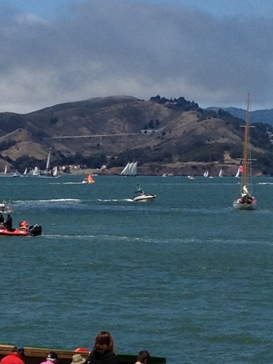Two mast schooner with 3 sails; Sausalito in background