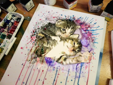 Kittens in water color