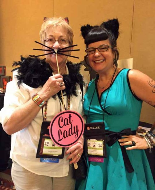 Mom L and Miss Kate embracing their cat roots!